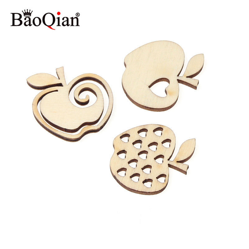 20Pcs 30mm Mixed Apple Pattern Wooden Scrapbooking Art Collection Wood Craft For Handmade Sewing Accessory Home Decoration