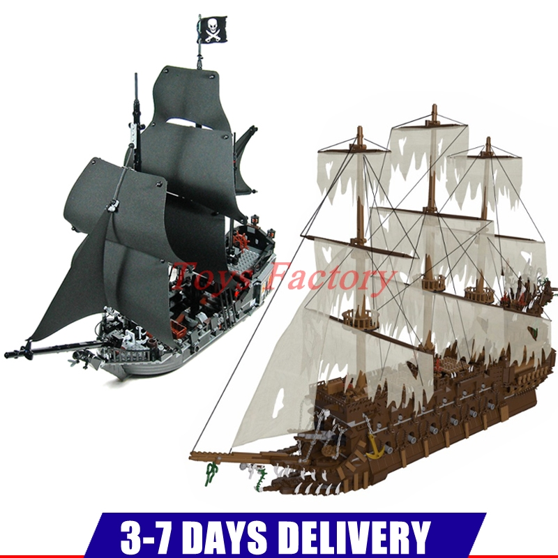 MOC LEPIN 16016 3652Pcs The Flying the Netherlands Ship+16006 804pcs Pirates Caribbean Ship The Black Pearl Clone 4184 lepin 16006 the black pearl 16009 queen anne s revenge pirates of the caribbean building blocks set clone 4184 4195
