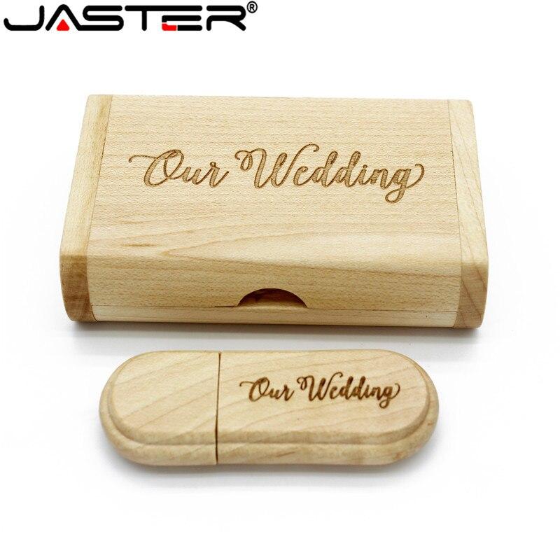 JASTER Maple USB Flash Drive With Box Wedding Gift (5PCS Free Logo) 16GB 32GB 64GB USB 2.0 Flash Stick Pen Drive Wood Pendrive