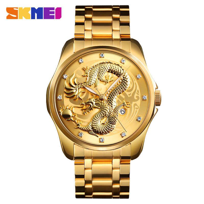 2019 SKMEI Роскошные узор в виде китайского дракона для мужчин Золотой кварцевые часы мужской часы водостойкие наручные Relogio Masculino 9193