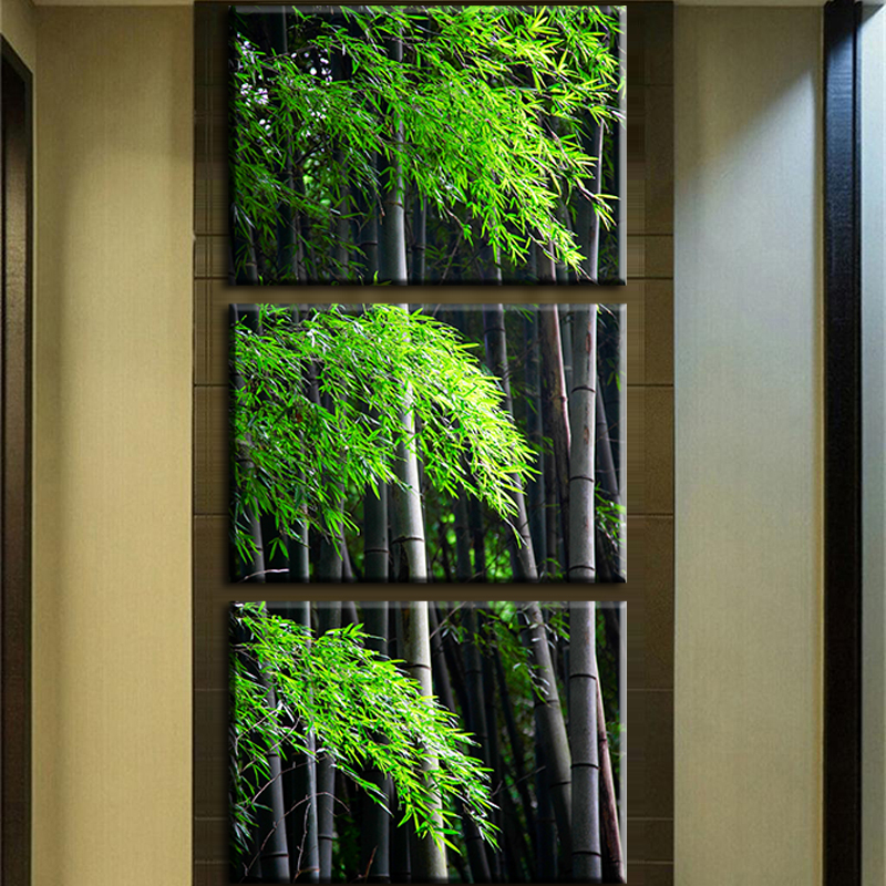 Wall Paint Bamboo Design : Panels painting wall hanging canvas picture paint modern