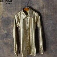S-3XL!!! Men của PU leather dài tay áo áo của tu tập của của một người đàn ông đạo đức của sân khấu da trang phục