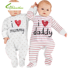 Newborn Baby Romper Long Sleeves Cotton Baby Pajamas I love mummy & daddy Baby Costume Girls Boy Striped Jumpsuit Clothing newborn kids baby rompers i love daddy jumpsuit boys girls romper long sleeve underwear cotton baby boy clothing summer outfits