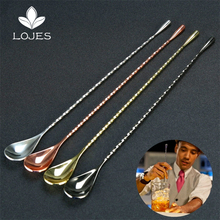 30cm/45cm Stainless Steel Mixing Cocktail Spoon Spiral Pattern Teadrop SpoonThreaded Swizzle Stick Stir Bar Tool Bartender