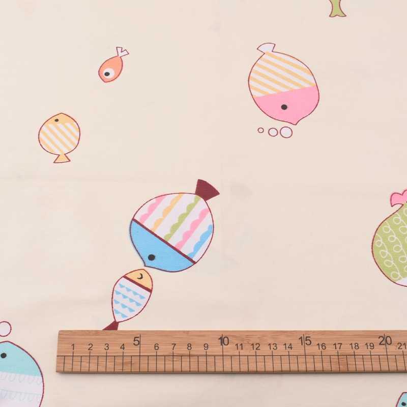 Quan fang 만화 물고기 인쇄 능 직물 코 튼 원단 diy 바느질 퀼 팅 수공예품 아기 어린이 소재 미터 100x160cm