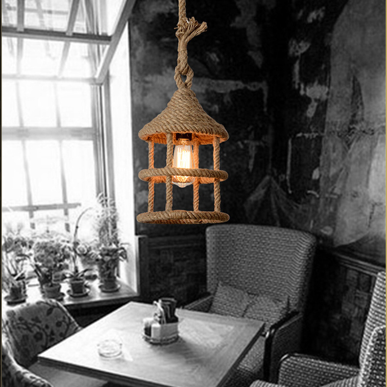 Handmade Unique Natural Ceiling Pendant Rope Lamp Light Droplight for Cafe Restaurant Cottage Shop Bars Decoration