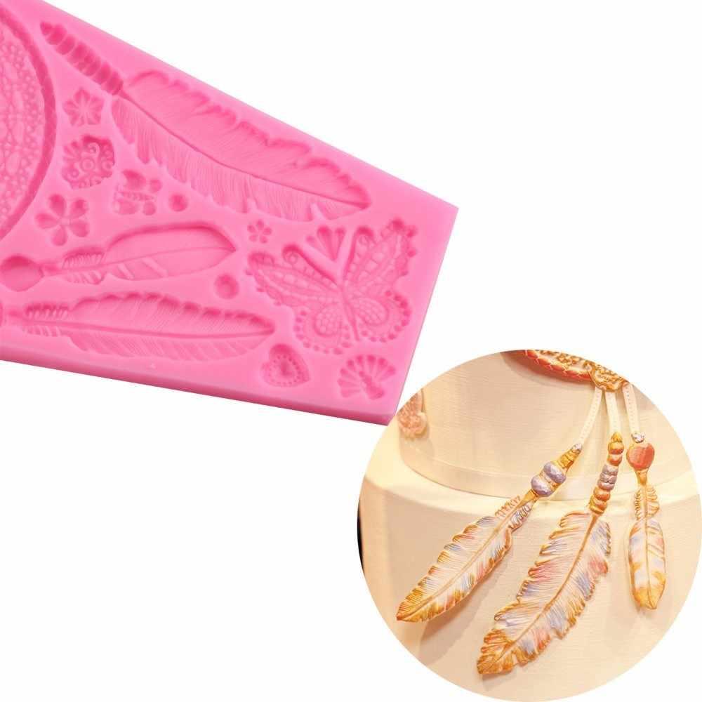 Mujiang羽蝶レースケーキボーダーシリコーン金型ウェディングケーキ飾るフォンダン金型チョコレートキャンディfimo粘土モールド