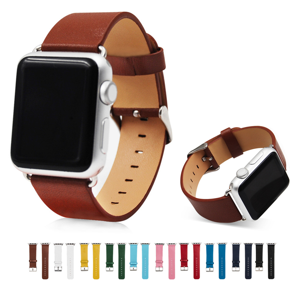 Genuine leather watchband for apple watch band starp 42mm/38mm iWatch 3 2 1 Bracelets Wrist band Stainless Steel Metal Buckle genuine leather classic buckle watch straps wrist band for apple watch 42mm red