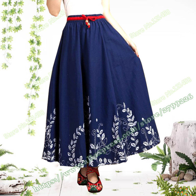 7632286a0b 2018 otoño Retro ocio Casual azul marino patrón Floral algodón Lino Falda  larga mujeres mujer