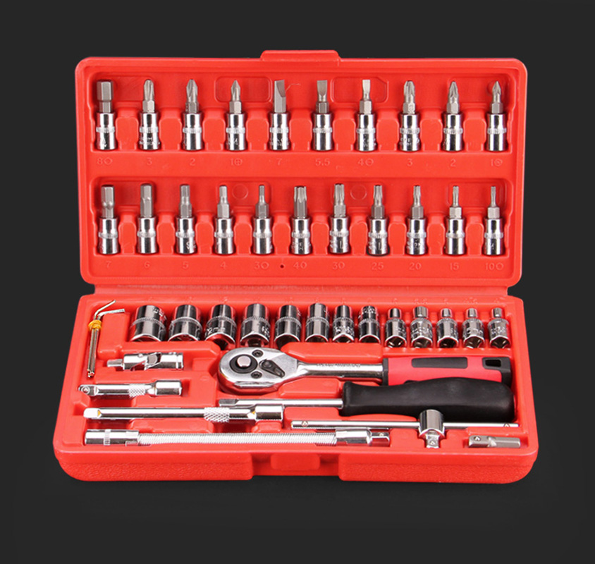 46pcs Car Repair Tool 1/4-Inch Socket Set Car Repair Tool Ratchet Torque Wrench Combo Tools Kit Auto Repairing Tool Set mainpoint 1 4 1 2 3 8 e socket sockets set cr v torx star bit combination drive socket nuts set for auto car repair hand tool