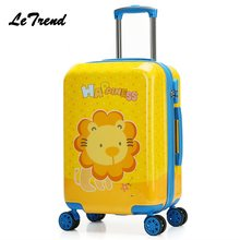 New Fashion 20inch Cute Cartoon Suitcases Wheel Kids Dinosaur Rolling Luggage Spinner Trolley Children Travel Bag Student(China)