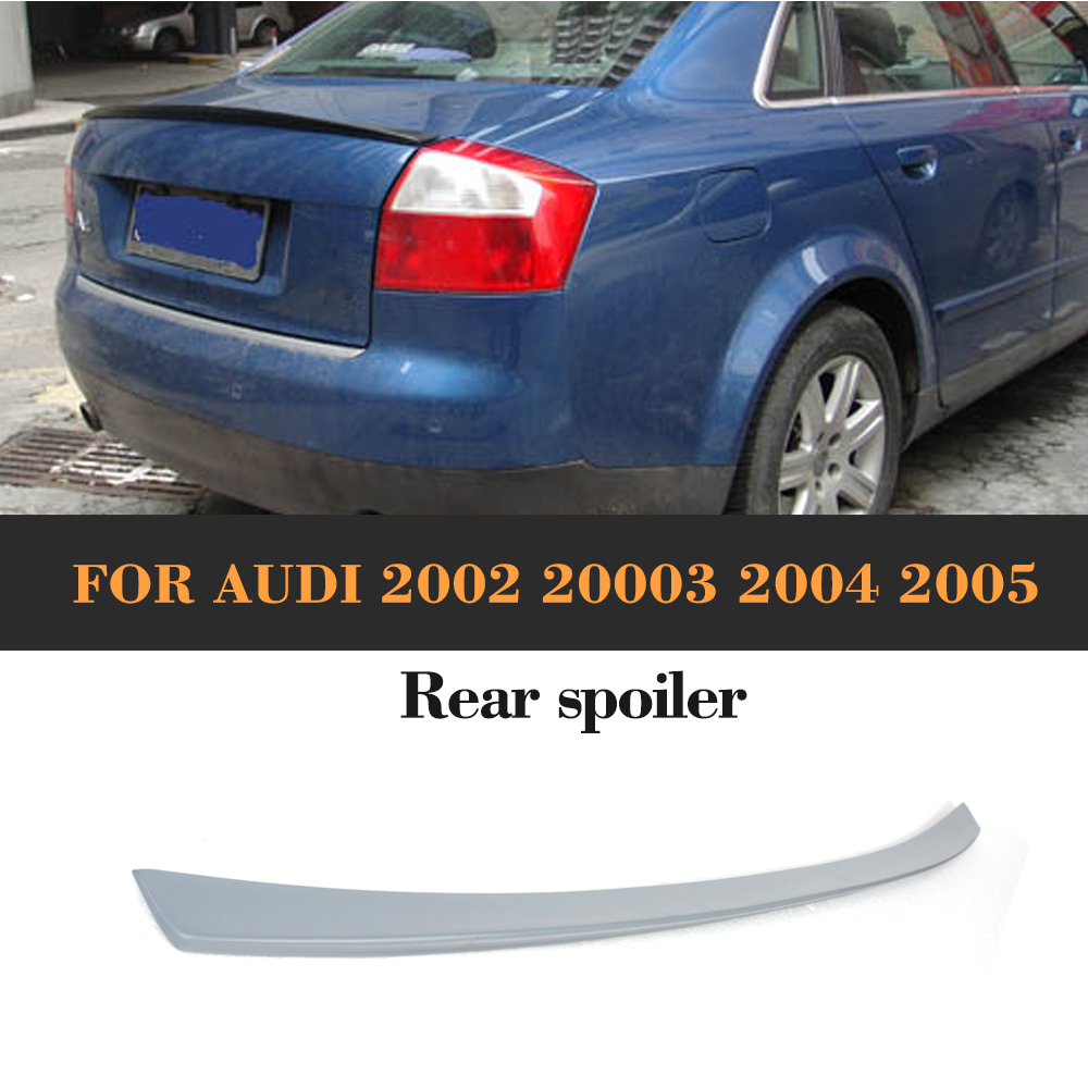 Rear Trunk Spoiler Wing PU Unpainted Fit for Audi A4 B6 Sedan 4-Door 2002 - 2005 (Not for Sline) s3 style for audi a3 sedan carbon fiber rear trunk spoiler wing 2014 2015 2016