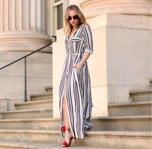 Frauen Herbst Kleid Schwarz Weiß Lange Maxi Gestreiftes Hemd Kleid Damen Sexy Elegantes Design Langarm Split Kleider