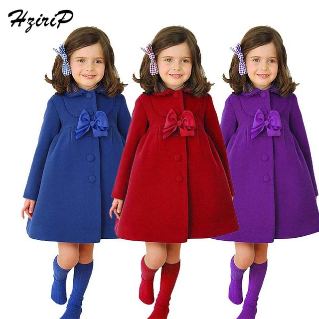 2016 New Fashion Girls Children Outerwear Bowknot Lace Girls Wool Coat Lapel Long Winter Coat Girl Solid Color Fit 2-7 Year Old