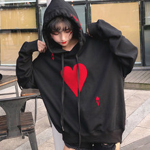 Ulzzang Sudadera con capucha de manga larga amor femenino personalidad  impresión juego ocasional flojo 2018 primavera f1ef3850186