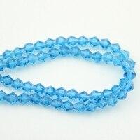 Miễn phí vận chuyển 4 mét bicone pha lê hạt kính quyến rũ aquamarine loose spacer bead đối với diy trang sức làm