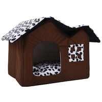 Dom dla zwierząt luksusowe wysokiej klasy podwójna pokój brązowy łóżko dla psa i kota podwójne dom miękki ciepły dom 55x40x35 cm legowisko dla psa