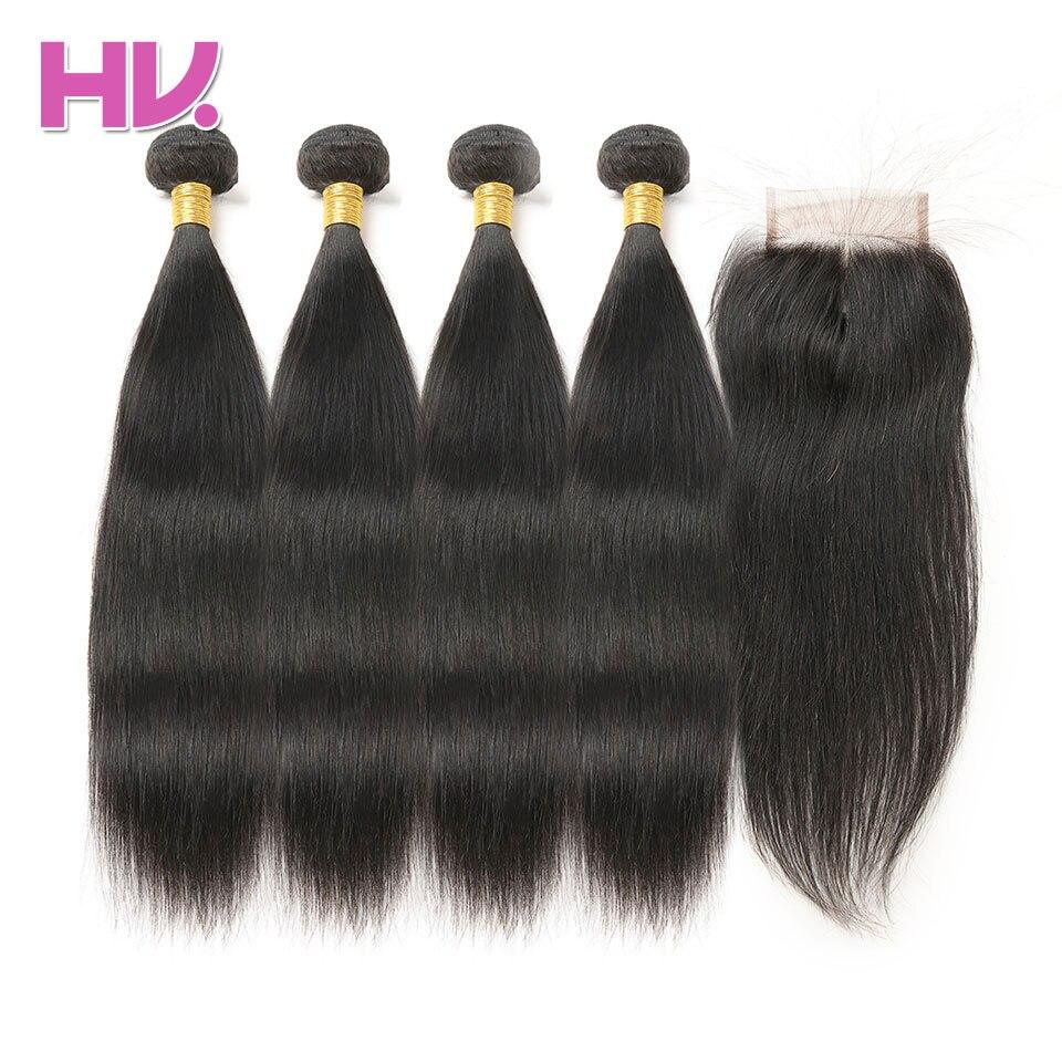 Hair Villa Brazilian Human Non Remy Straight Hair 4 Bundle Human Hair Weave With Closure 4*4 Natural Color Human Hair Extension
