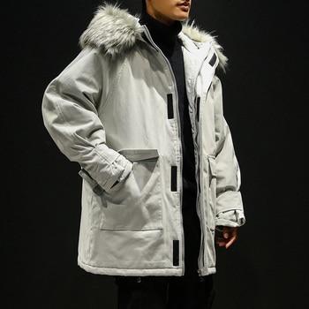 Men Winter Hooded Down jackets Loose Winter Coats New Male Large Size Long Warm Parkas Outwear Casual Winter Jackets Size 5XL