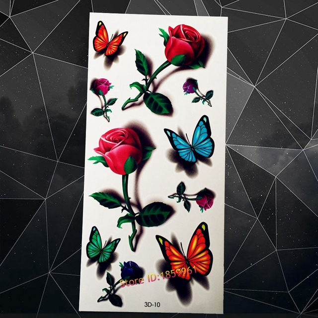 c33157bca New tatouage taty Flash Temporary Tattoo For Sexy Girl A3D-10 Red Roses  Blue Butterfly Tattoo 3D Water Transfer Tattoo Body Art