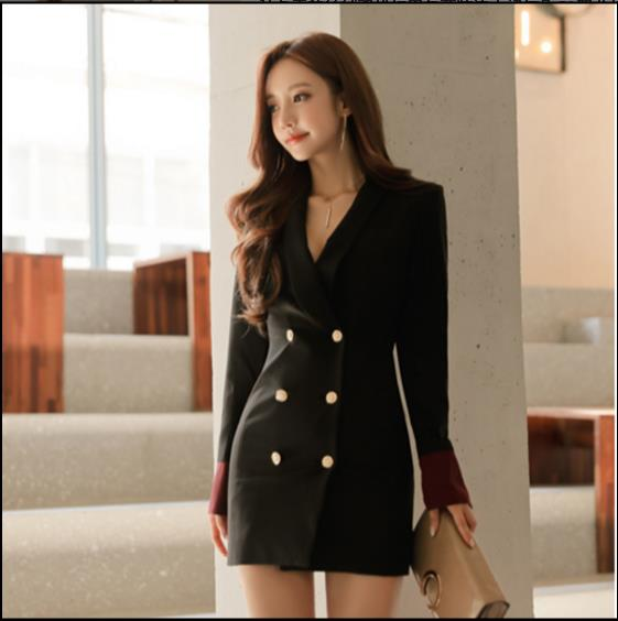 Women's Clothing Ol High Quality Formal Notched Collar Patchwork Women Blazer Dress Office Ladies Elegant Empire Double Breasted Vestido Fq324