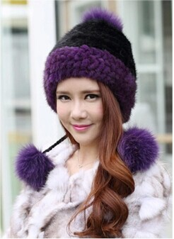 New Fashion 2017 Winter Warm Hat Real Mink Fur Cap With Ball Pom Poms Female Beanies Knitted Caps Lining 7 Color Free Shipping