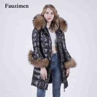 Large Raccoon Fur Collar Hood Real Fur Down Black Long Jacket Winter Woman Clothes