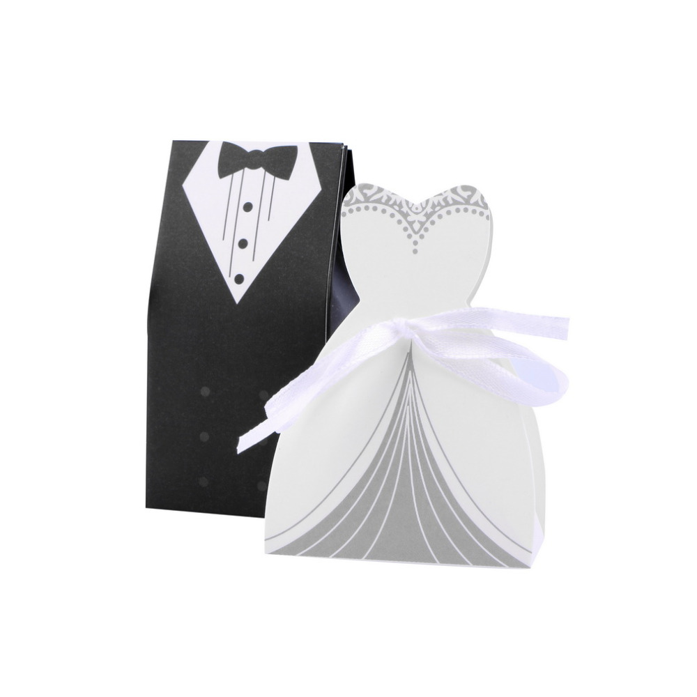 50pcs Wedding decoration bride groom candy gifts boxes paper for ...