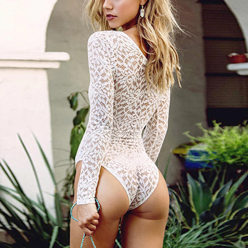 Celmia Women White Crochet Lace Bodysuits 2018 Sexy Deep V Neck Lace Up See Through   Jumpsuit   Clubwear Plus Size Rompers Playsuit