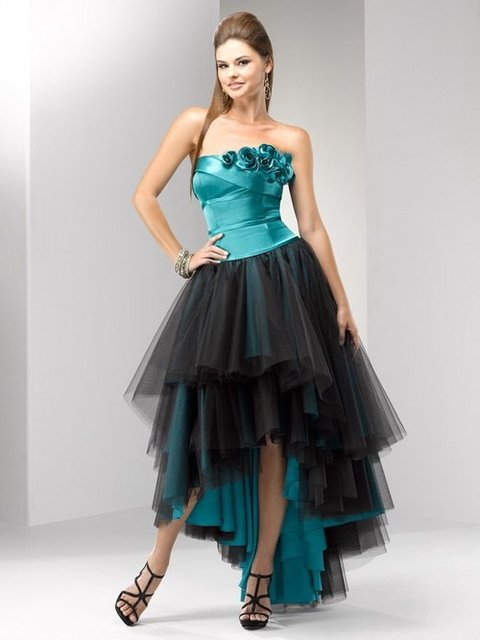 Free Shipping!Strapless Flowers Satin Sheath Front Short Back Long Backless Lace Up Ball Gown Homecoming Dresses