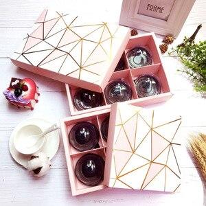 10 шт./лот золото Фольга Розовый коробка для макарун торт подарочная коробка для шоколада Рождественский подарок на день рождения упаковка к...