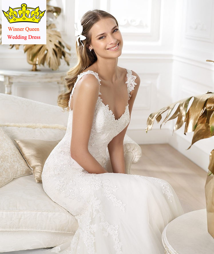 2015 new design mermaid lace appliques spaghetti strap wedding dress for petite women c14china