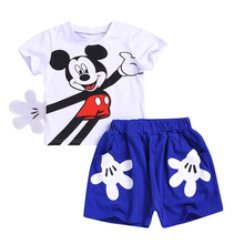Baby Boy Set Summer Fashion Childrens Wear Girls Mickey Mouse Cartoon Short Sleeve + Pants 2 Piece