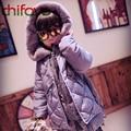 Chifave 2016 Crianças Roupas Longas Grossas Crianças Quentes Meninas Inverno Para Baixo Casaco Com Zíper Com Capuz De Pele Decoração de Bola Bonito Meninas Outerwear