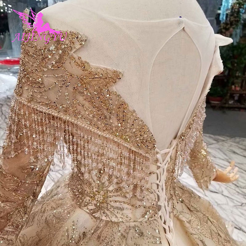 Image 4 - AIJINGYU Hand Wedding Indian Gown Lace With Long Train Crystal Boutiques Sexy Sale Plus Size Gown 2018 Bridal Party DressesWedding Dresses   -