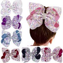 Kids Girls Large Sequins Rhinestone Grosgrain Ribbon Bow Hair Clip Baby Accessories Handmade Princess Headwear