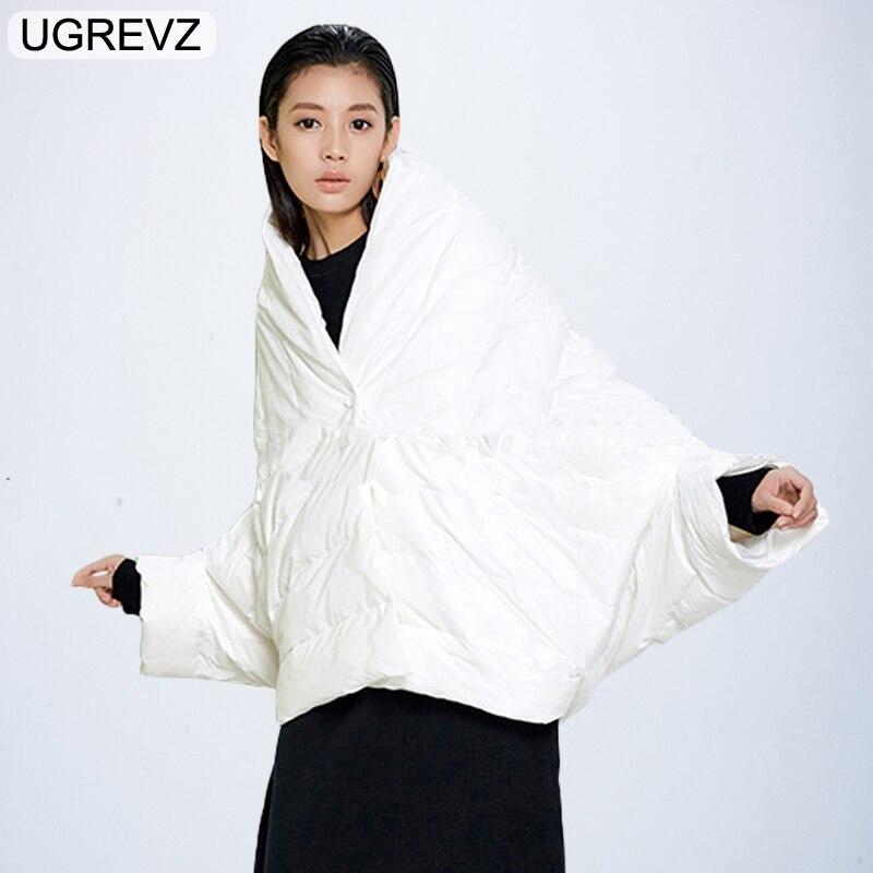 Winter Jacket Women Loose Parka Fashion Batwing Sleeve Female Down Cotton Vest 2018 New Overcoat Black White Autumn Short Jacket