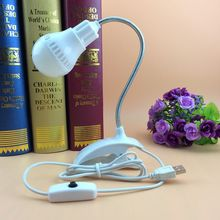 Portable USB led bulb Clip on with Flexible goose neck Switch on/off Indoor Desk lamp Reading light for Bedroom,Office DC5V