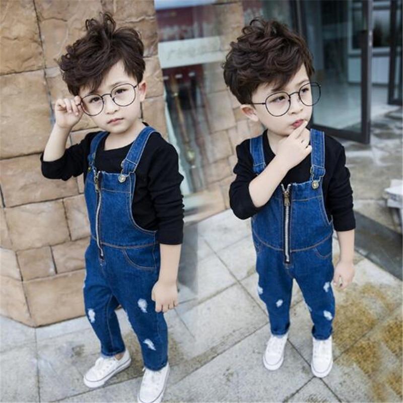 90dcfb53ee4 2018 Spring Autumn Children Boy Overalls Pants New Kids Denim Trousers  Pocket Toddler Boys Casual Jeans Pants 1-7T Cowboy Summer