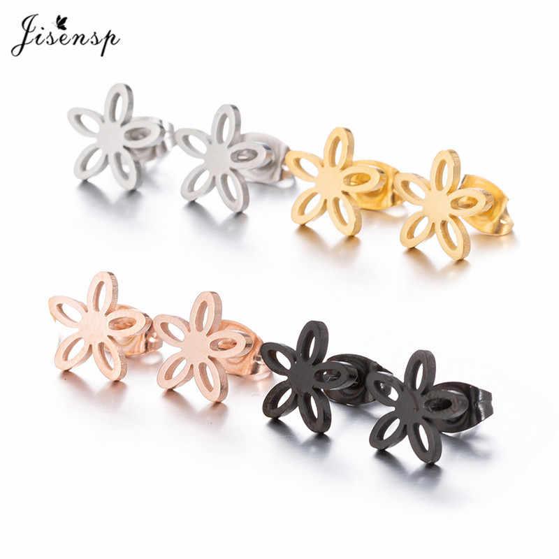 Jisensp Stud Earrings for Women Female 2018 Stainless Steel Flower Earrings Bijoux Jewelry Statement Earing Small Brincos  Mujer