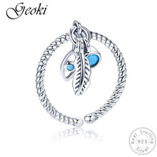 Geoki 925 Sterling Silver Blue Bohemian Eye&Retro Feather Ring with Adjustable Size Women Original S925 Rope Ring for Lady Gift цена