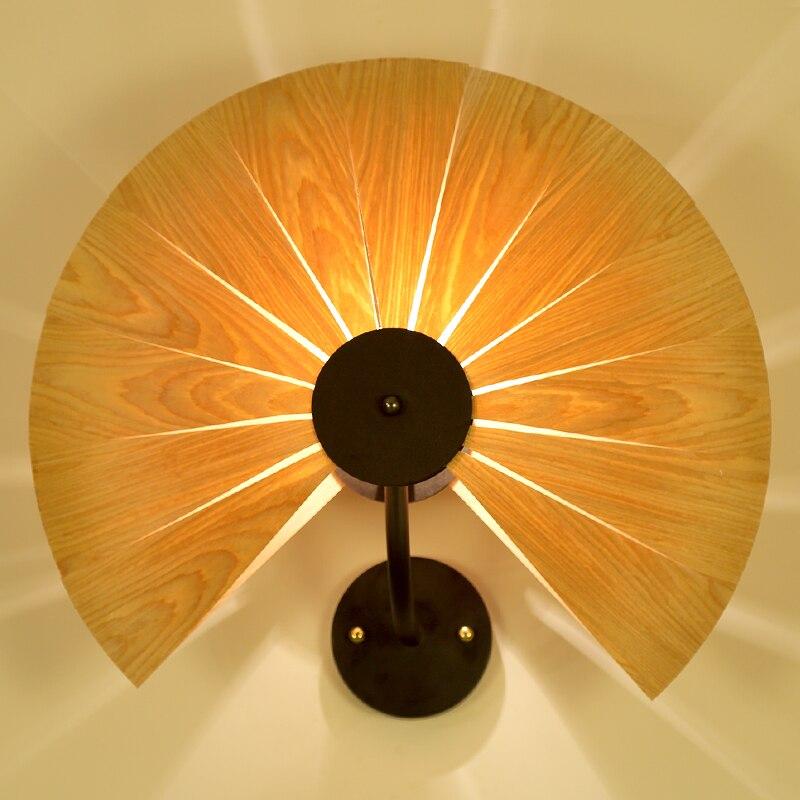 Bois naturel pour ventilateur/amour coeur abat jour mural lampe avec fer en métal nouvelle décoration style souutheast pour café bar - 5