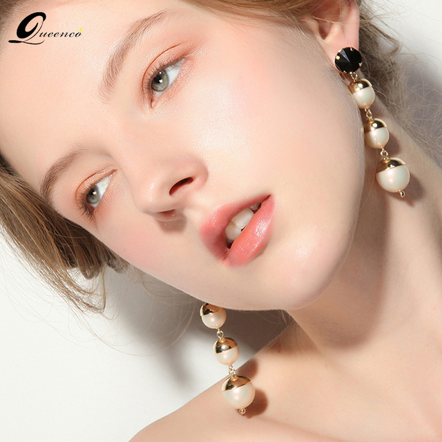 Trendy Pearl Earrings Fashion For Women Penntes Back Crystal Wedding Jewelery Earring Jewelry Woman