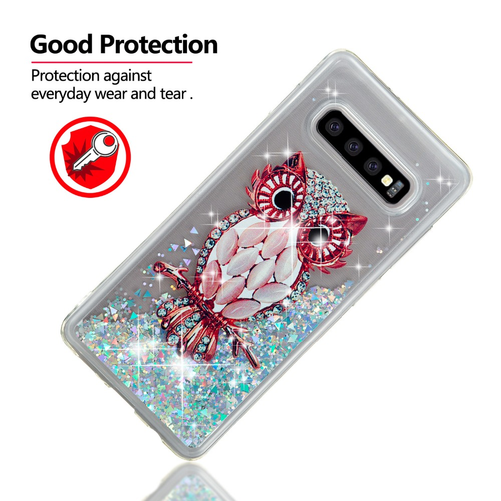 For Samsung Galaxy S10 Plus S10E Case Liquid Glitter Silicone owl Tower Cover For Samsung Galaxy S10 Lite S 10 Phone Cases in Fitted Cases from Cellphones Telecommunications