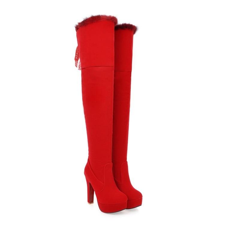 Femmes Carré Genou Haut Zipper Rouge Plate Furry Parti Talon E300 forme Bottes Chaussures Équitation dCrWxBoe