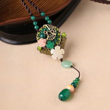 Long sweater chain jewelry jade pendant retro art necklace summer accessories Yu yi xaun ornaments