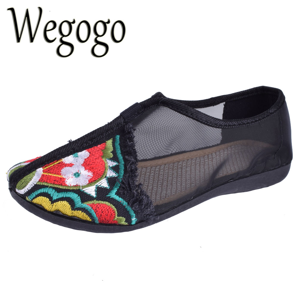 Women Embroidery Flats Spring Summer Embroidered Shoes Gauze Floral Casual Canvas Dance Shoes Soft Bottom Plus Size 41 women flats summer new old beijing embroidery shoes chinese national embroidered canvas soft women s singles dance ballet shoes