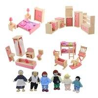 Wooden Doll Furniture Set Bathroom Bedroom Kitchen Furniture Miniature Dollhouse For Kids Children Pretend Play Educational