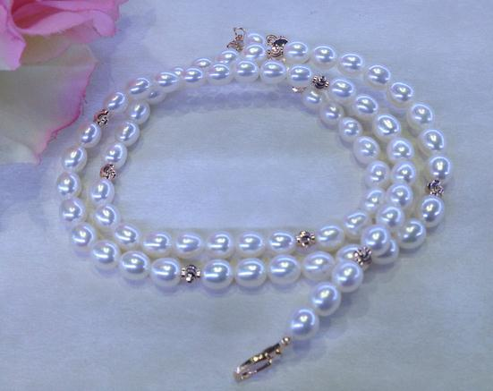 Handmade Elegant Real Pearl Jewelry 45CM Natural Pearl Beads 6 7MM Highlight Pearl Necklace Perfect Gift