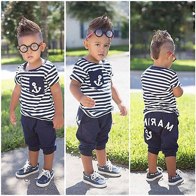 New Summer Fashion Boys 2Pcs Set Striped Anchor T Shirt Tops Marine Pants Kids Baby Outfits